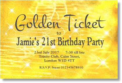 order 2 golden ticket with sparkles
