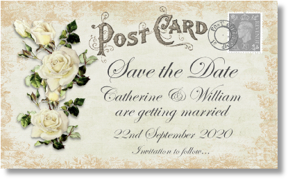 order w10 ivory roses postcard